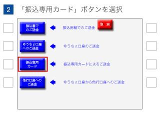 (2)「振込専用カード」ボタンを選択