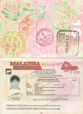 パスポートのビザページ